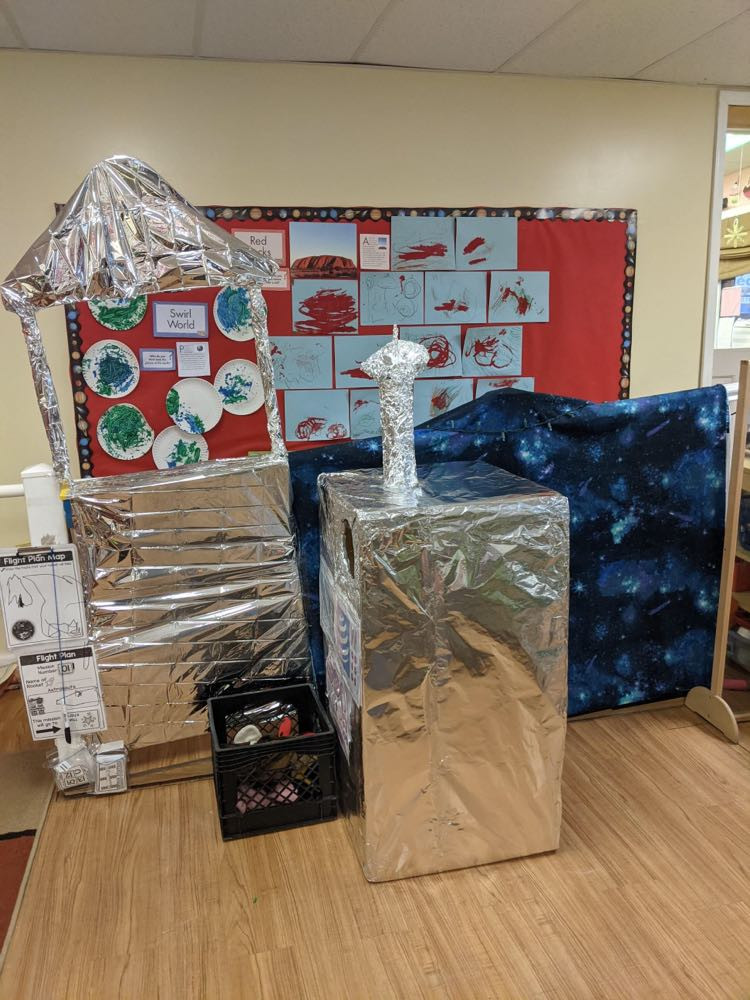 rocket ship dramatic play center made from aluminum foil