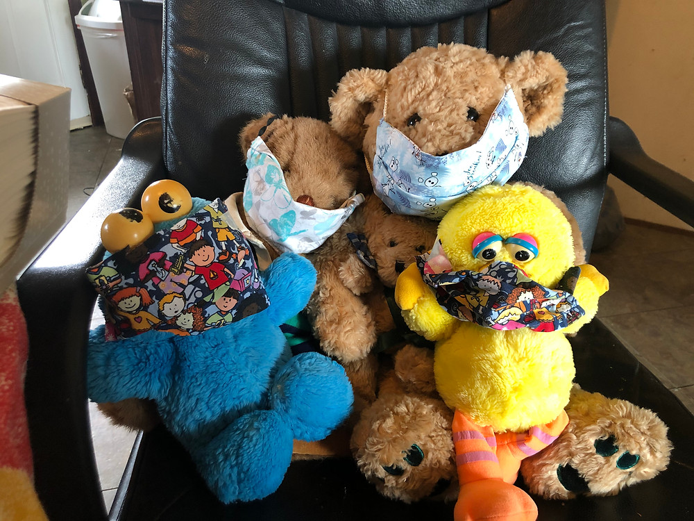 stuffed animals with cloth masks