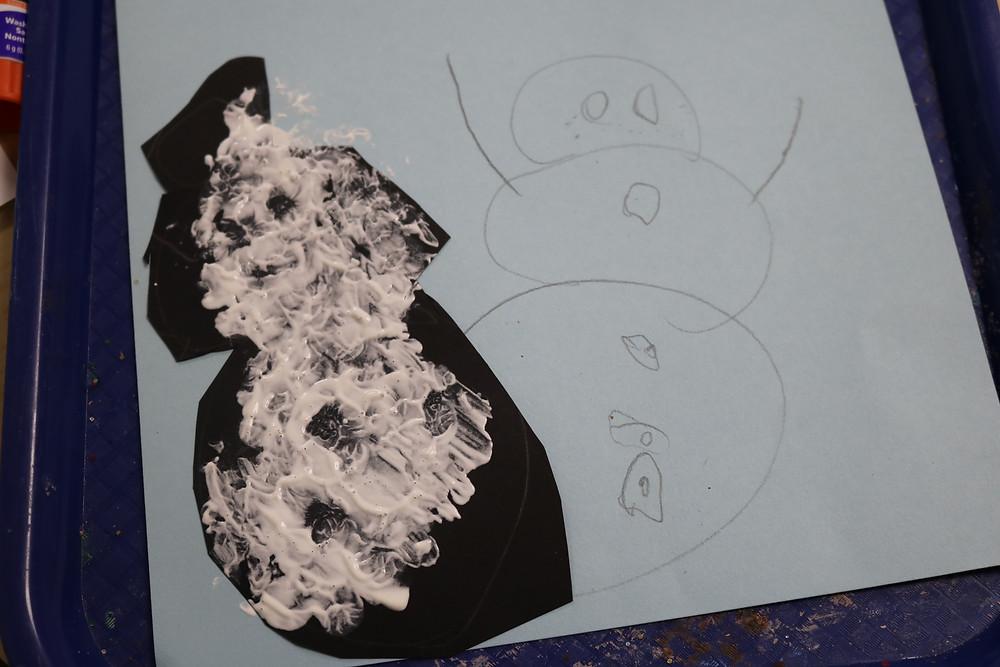 child's snowman artwork
