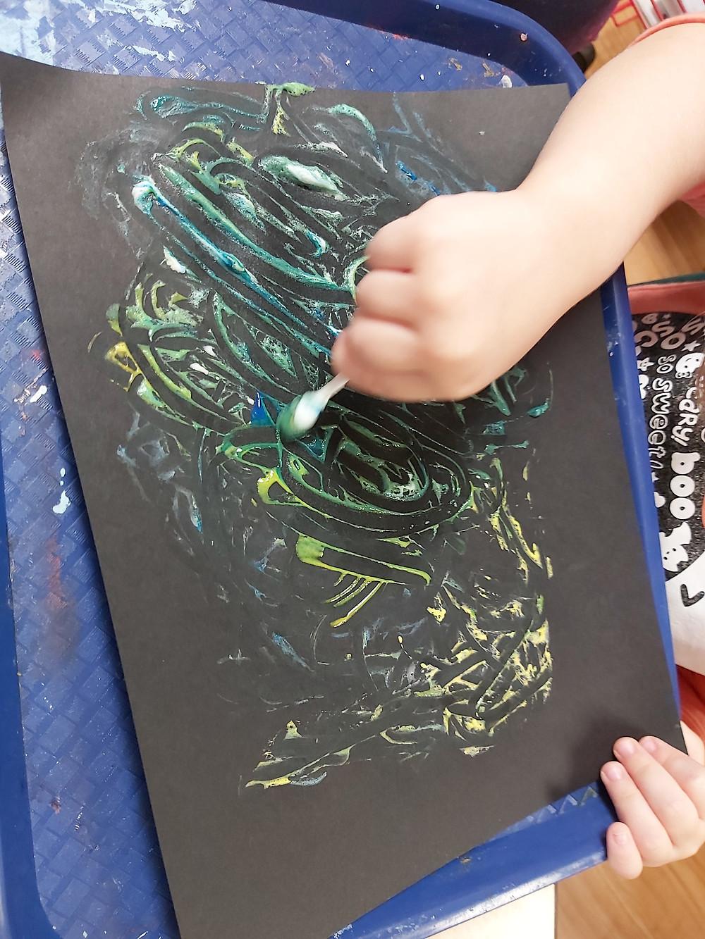 preschool painting with eyeshadow applicator
