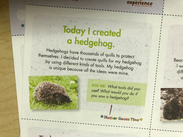 My Creative Mind daily note about making hedgehog art