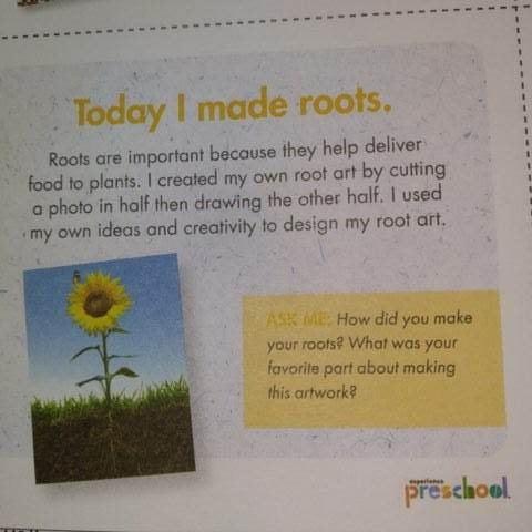 My Creative Minds daily sheet for making roots