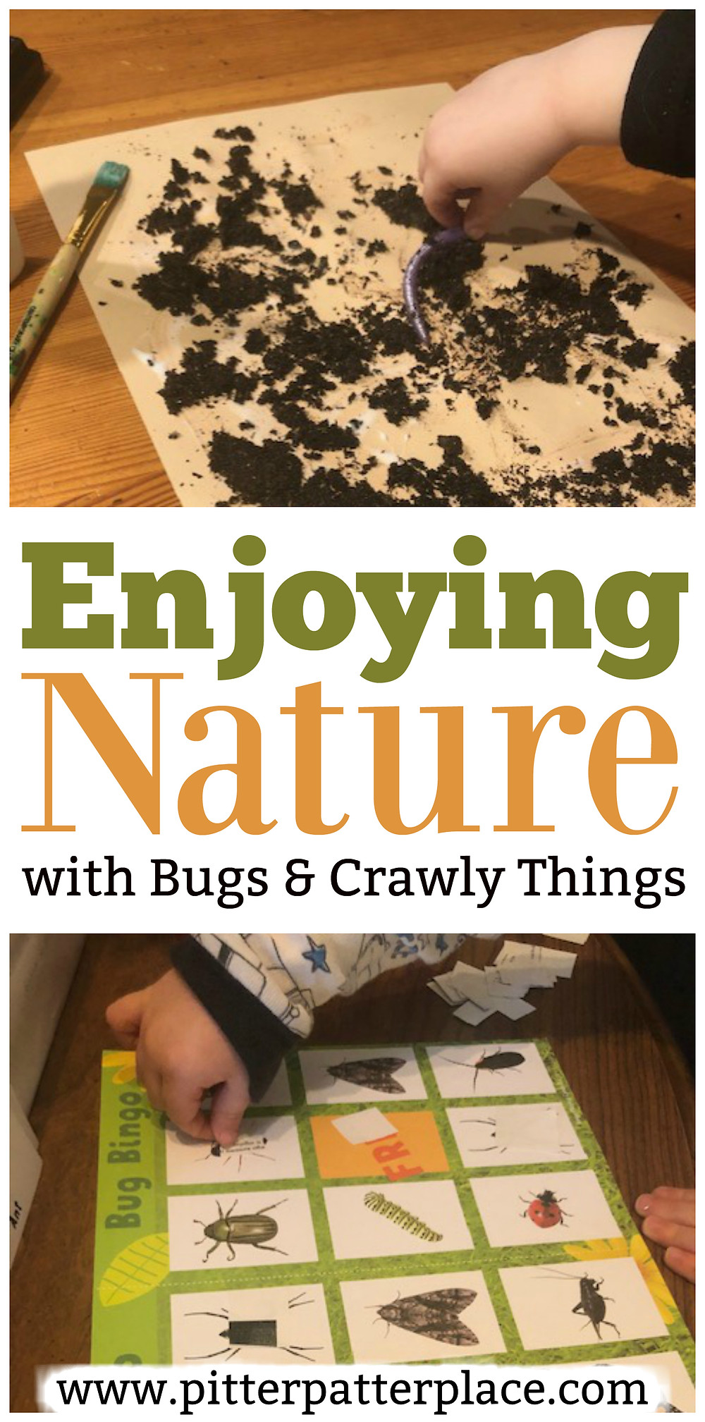 collage of bug activities for preschoolers with text overlay: Exploring Nature with Bugs & Crawly Things