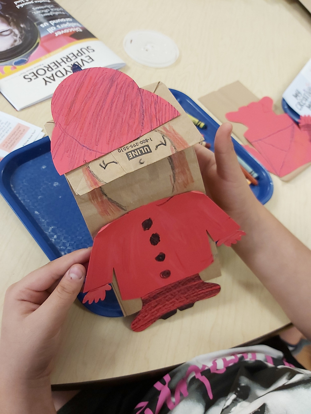preschooler's firefighter puppet finished