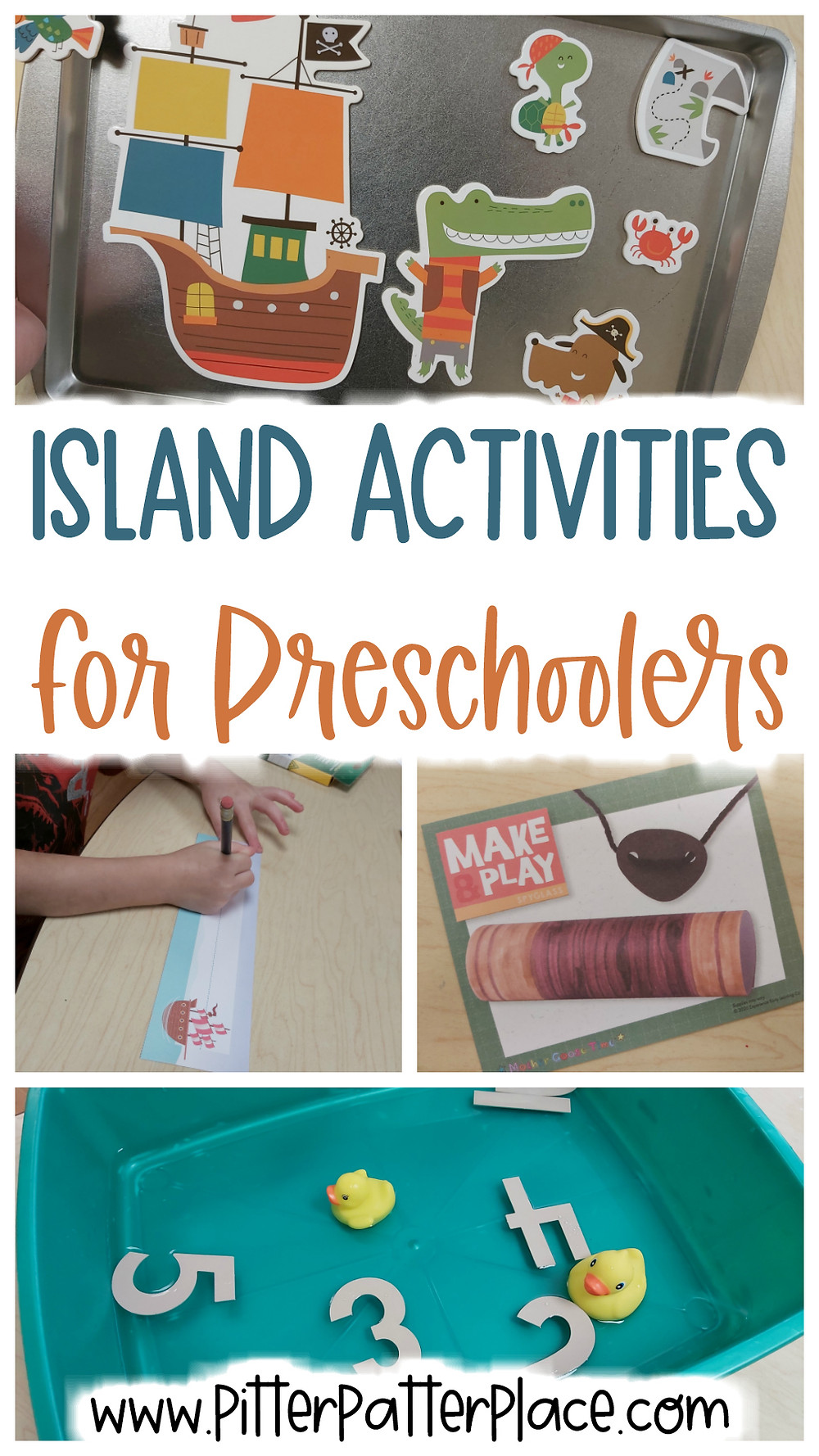 collage of island activities with text: Island Activities for Preschoolers