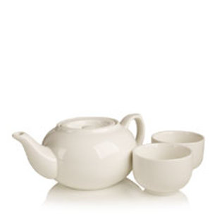 Ceramic Infuser Teapot Set White