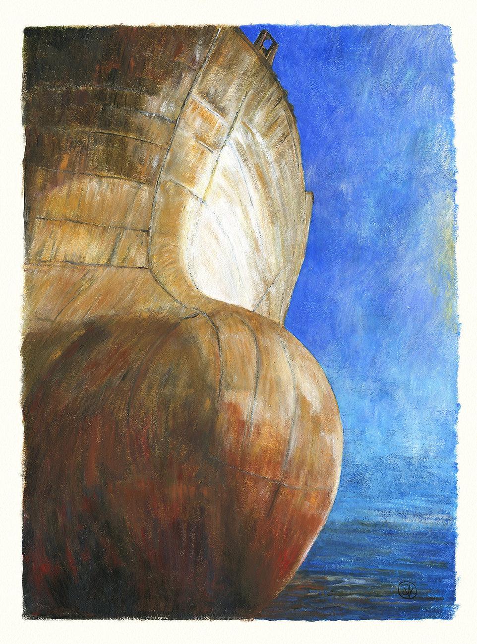 Contraste entre les ocres de Roussillon teintant les aciers de ce bulbe d'étrave et les bleus azuréens des ciels estompés par les brumes matutinales se fondant dans une mer aux nuances indigo