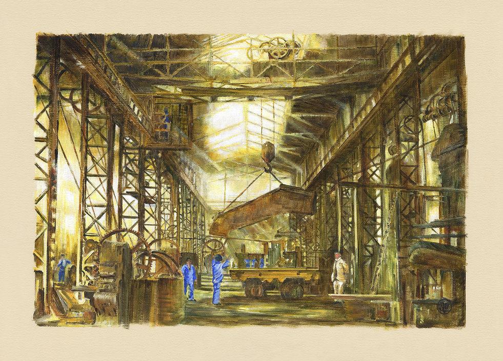 Le chantier naval c'est aussi des ateliers, ici une vue de l'atelier chaudière dans l'entre deux guerres. Des lignes d'arbres, des roues des engrenages et de grandes courroies.