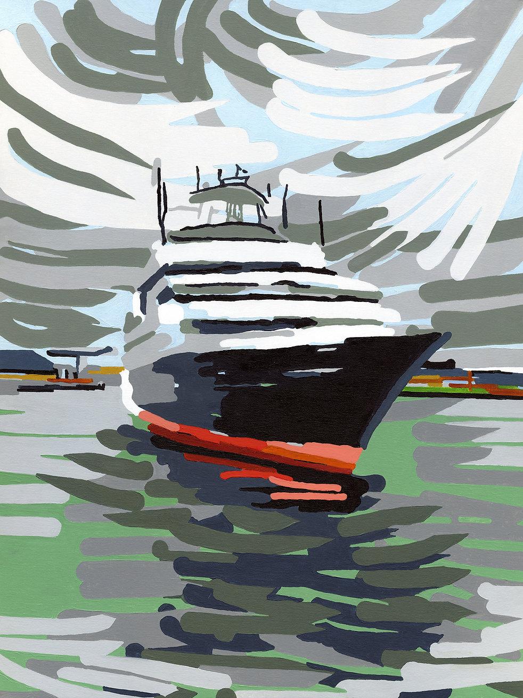 St Malo- Le Cruiser Explorer, en partance pour une croisière en Arctique, se présente devant l'écluse de St M