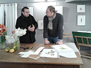 Vincent Jeannerot, réunion de travail dans sa galerie-atelier de St Jean