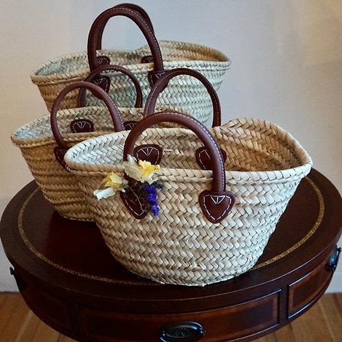 French Market Basket Short Brown Handle