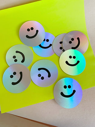 holographic smile sticker