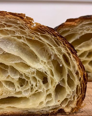 butter croissant cross section looking m