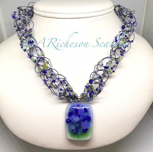 J102  Azure Flowers Necklace