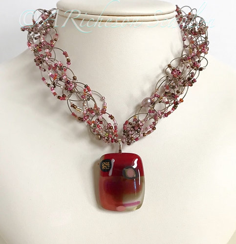 J108 Magenta/ Rosewood Necklace