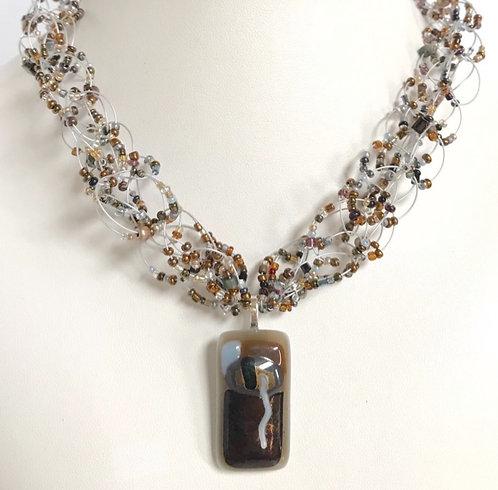 J104  Chocolate & Carmel Necklace