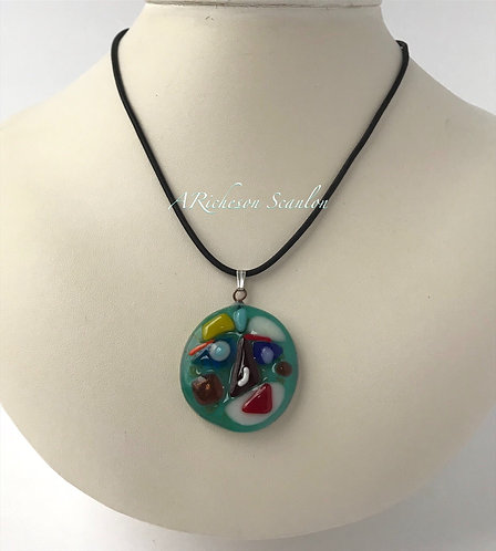 Whimsical Faces Necklace - 'Love is all around you'