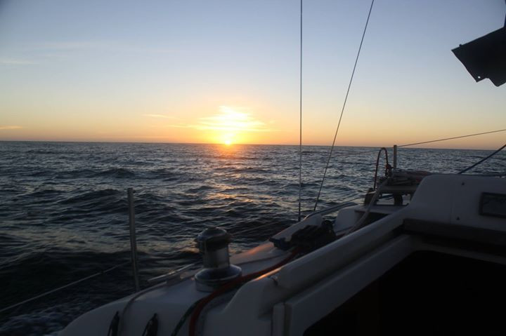 Sunrise off the coast of Saint Augustine, Florida from the cockpit of a Catalina 27' Sailboat.