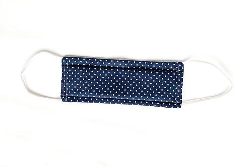 Masque en tissu lavable - Bleu gris à pois