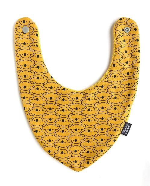 bavoir bandana motifs kaola couleur moutarde, mixte pour garçon et fille