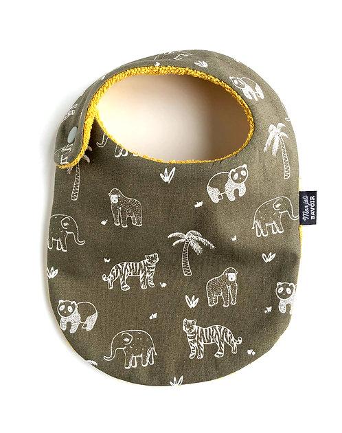 bavoir nourrisson en coton animaux jungle made in france fermeture pression sur le côté cousu main dans la région de Lille