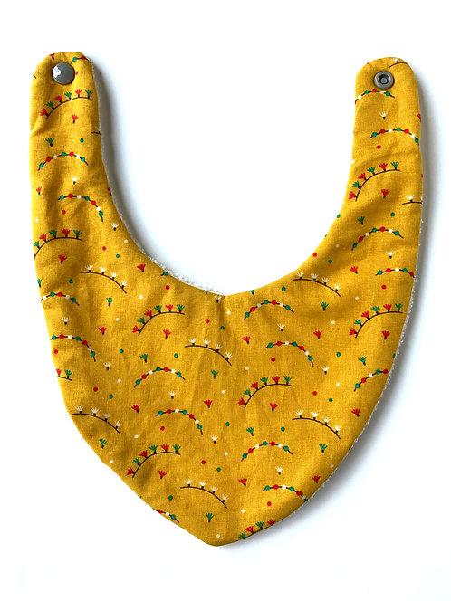 bavoir Bandana en coton motif guirlande made in france fermeture pression cousu main dans la région de Lille