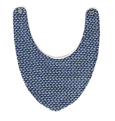 Bavoir bandana bleu marine et blanc
