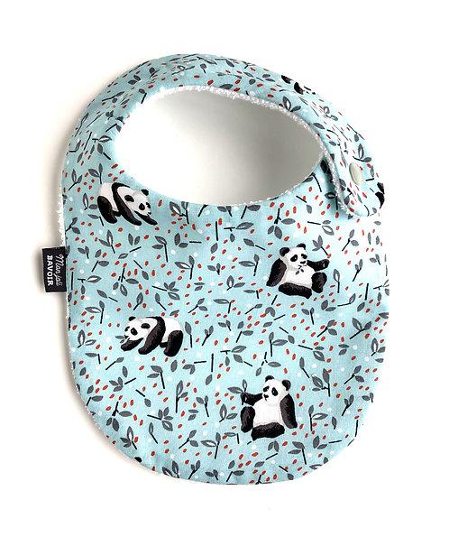 bavoir nourrisson en coton motif panda made in france fermeture pression sur le côté cousu main dans la région de Lille