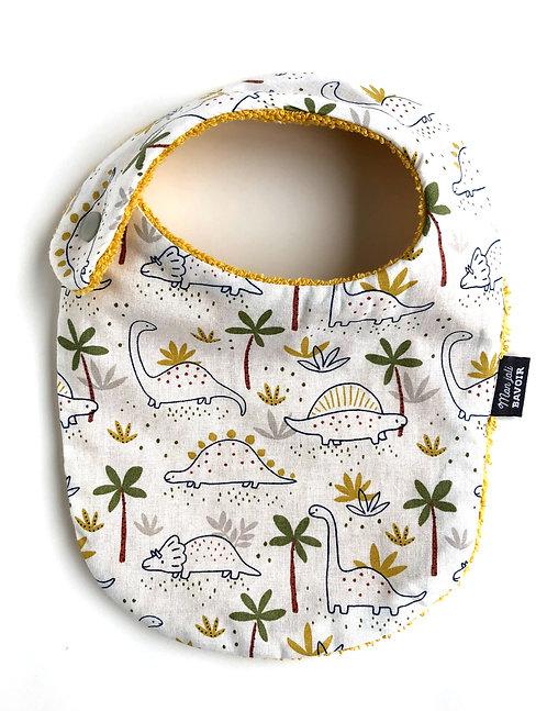 bavoir nourrisson en coton motif dinosaures made in france fermeture pression sur le côté cousu main dans la région de Lille