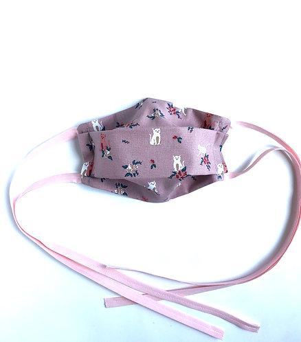 Masque en tissu lavable enfant avec liens à nouer -Chatons