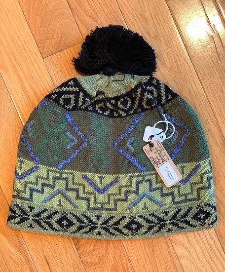 Machu Picchu Green Alpaca Hat with Pom Pom