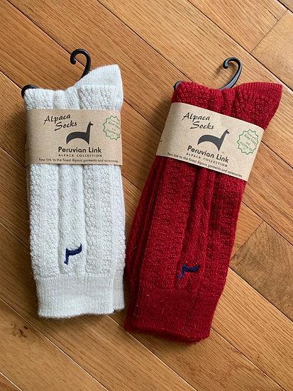 Cable Alpaca Crew Socks