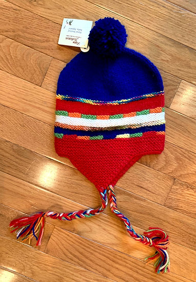 Colorful Kids Alpaca Hat with Pom Pom