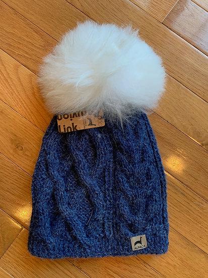 Denim Pom Pom Alpaca Hat