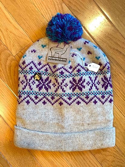 Oatmeal Snowflake Alpaca Hat