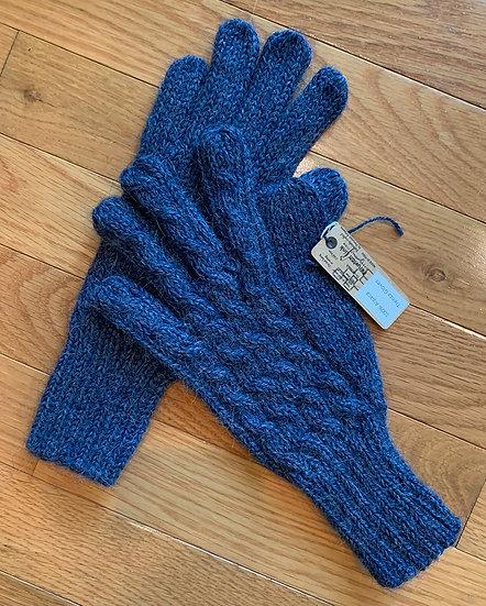 Blue Trenza Cable Alpaca Gloves