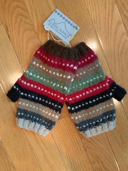 Fingerless Striped Gloves 100% Alpaca