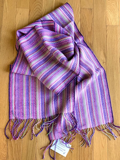 Pinks and Purples Striped Alpaca Scarf
