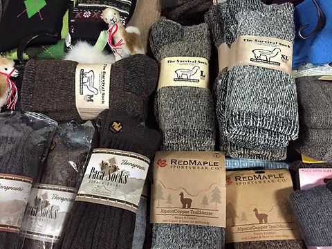 Butternut Alpacas carries a wide variety of really warm and soft alpaca socks. 5X warmer than wool, wicks away moisture and super soft.