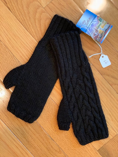 Black Cable Fingerless Gloves 100% Alpaca