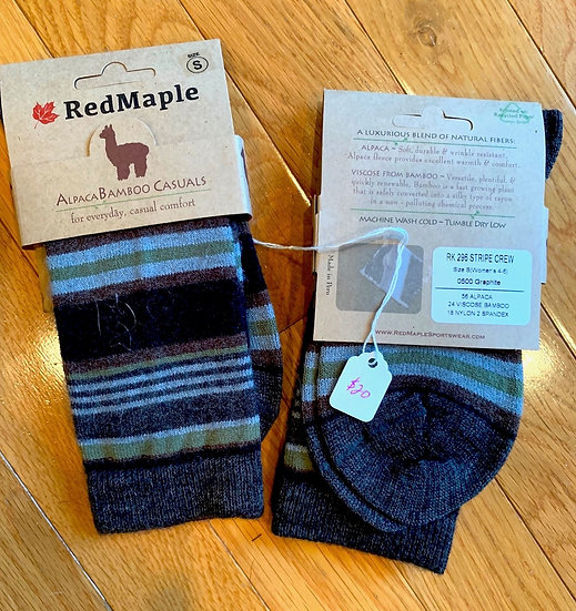 Striped Alpaca Bamboo Crew Socks
