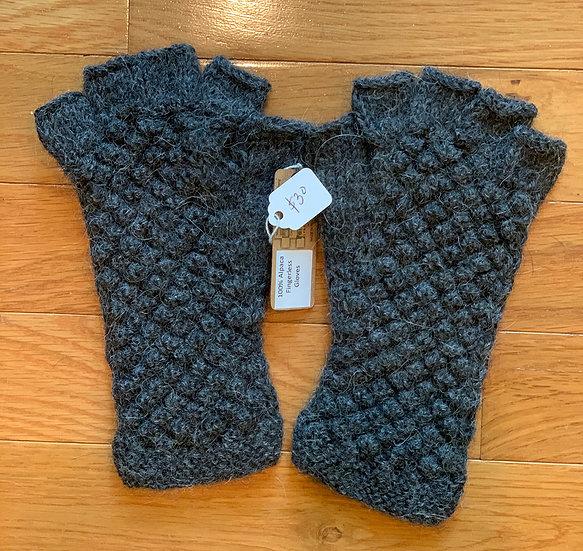 Charcoal Gray Popcorn Fingerless Gloves 100% Alpaca