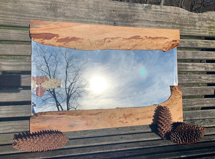 "Live edge wood 24"" x 16"" mirror"