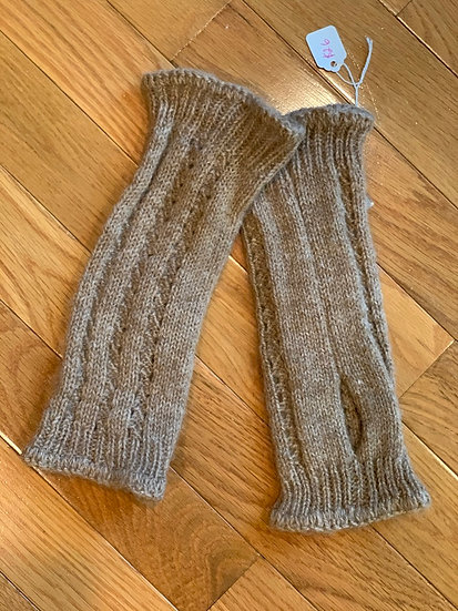 Brown Cable Fingerless Gloves 100% Alpaca