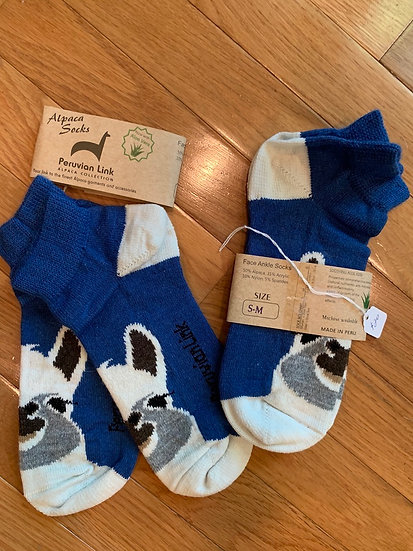 Blue and White Alpaca Face Crew Socks