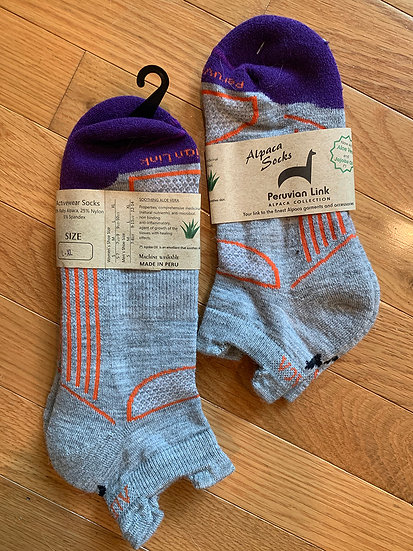 Gray and Purple Alpaca Ankle Socks