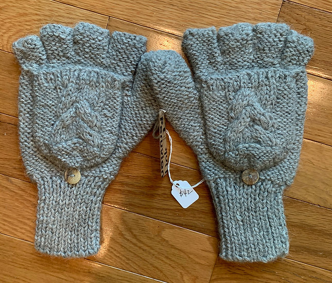 Blue or Gray Trenza Cable Alpaca Glittens