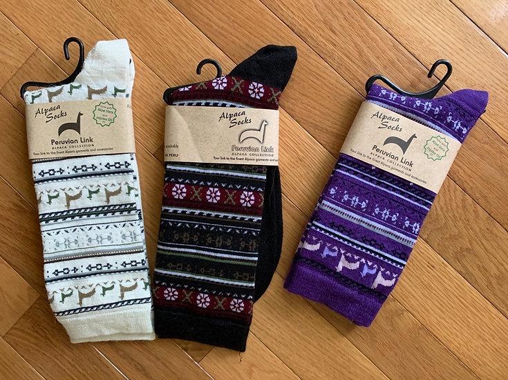 Fair Isle Alpaca Dress Crew Socks