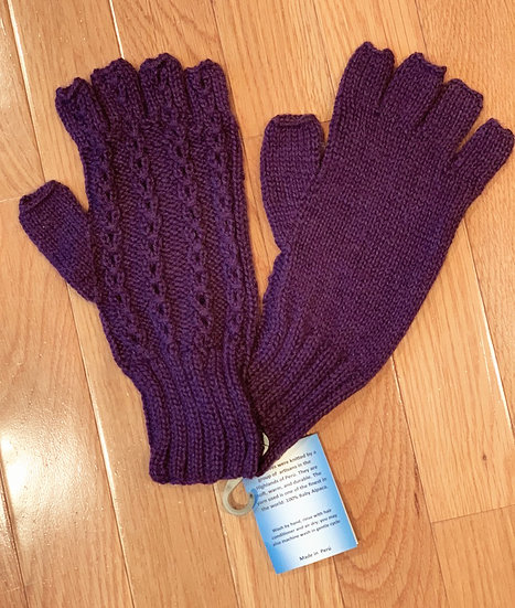 Soft Cable Fingerless Gloves 100% Alpaca