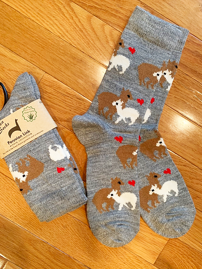 Mama and cria alpaca crew socks